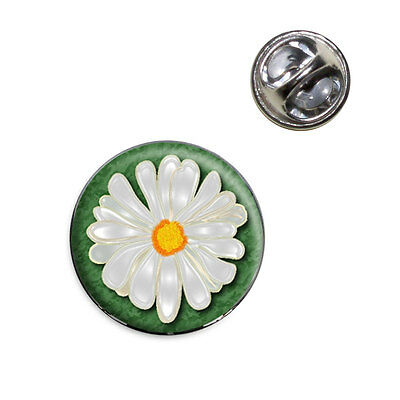 Daisy Flower On Green Lapel Hat Tie Pin Tack