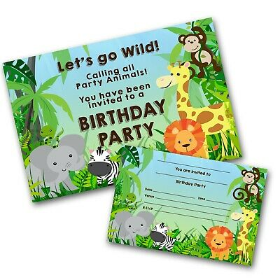 Jungle Animal Personalised Invitations Birthday Party Invites Free Envelopes