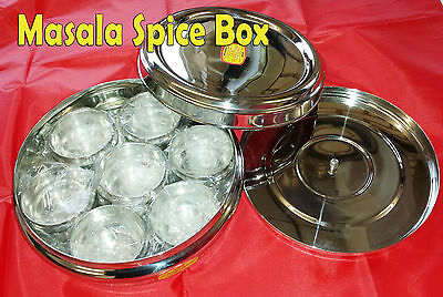 Kitchen Masala Spices Box Stainless Steel Asian Dabba 7 container plus one spoon