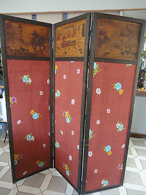 Antique Vintage Room Divider Screen Carved Hunting Scene Dog Horse Fox Hunt