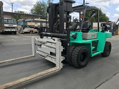 Mitsubishi FD70E Heavy Duty Forklift, 15,000 LBS Capacity, Rotary/Clamping Fork