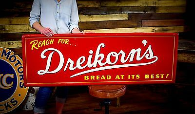 ANTIQUE Dreikorn's BREAD COUNTRY STORE METAL TIN SIGN Gas Station Deli CLEAN