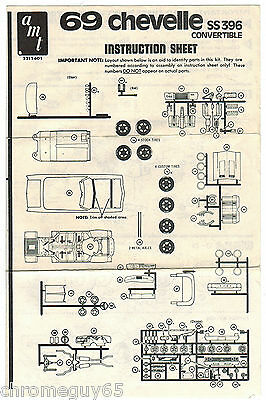 AMT 1969 Chevrolet Chevelle convertible instruction sheet 1st issue kit #2211