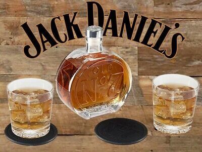 Jack Daniels Old No. 7 Decanter Set - 2 Rocks Glasses Coaster -Tennessee Whiskey