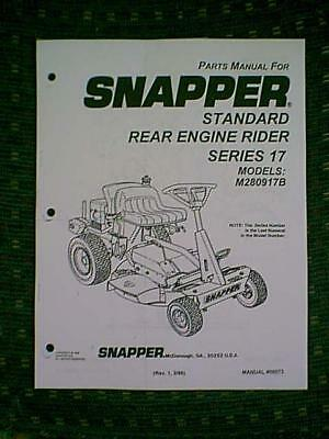snapper series 16 rear engine rider riding mower parts manual snapper rear engine riding mower series 17 parts manual
