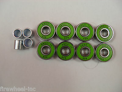 8 x ABEC 11 SCOOTER SKATEBOARD BEARINGS *NEW* GREEN SHIELDS