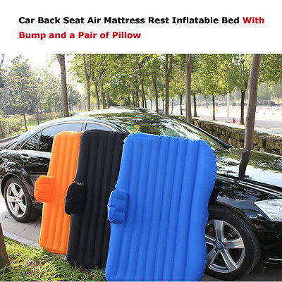Car Back Seat Air Mattress Self-drive Travel Rest Inflatable Bed w Bump&Pillow
