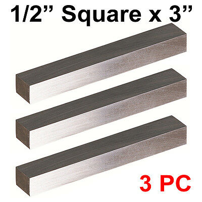 "3 PC HSS Tool Bits 1/2"" Square 3"" Long, M2 High Speed Steel Fully Gound"
