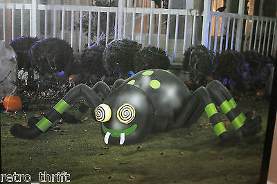 Airblown Animated Spinning Eyes Spider 8' Wide Lights Up Halloween Inflatable