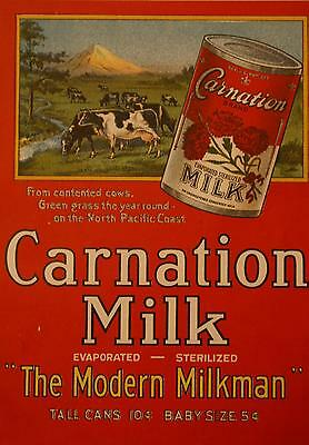 1910 SCARCE Original Lithograph Poster Carnation Milk from G.H.E. Hawkins