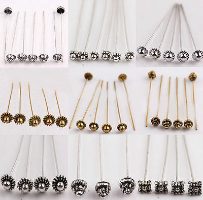20/100Pcs Silver Golden Plated Alloy Head/Crown/Ball Pins Jewellery Making 50mm