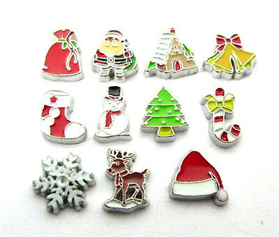 10 Pcs New Style Mix Christmas Floating Charms Glass Memory For Floating Locket