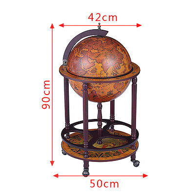 Wine Rack Wooden Drinks Cabinet Antique Vintage Bar Globe Trolley Map Container