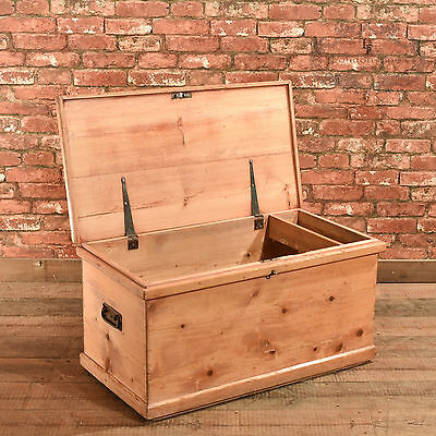 Antique Pine Carriage Trunk, Victorian Travel Chest, English, Blanket Box c.1890