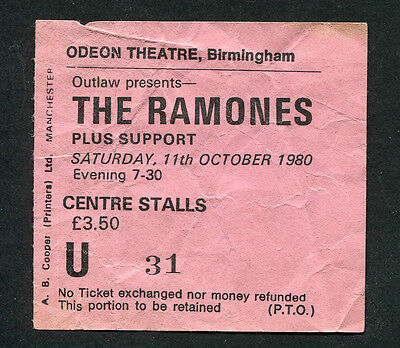 1980 The Ramones concert ticket stub Birmingham Rock n Roll High School October