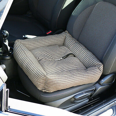 Brown Stripe Pet Car Travel Cushion Bed Dog/Puppy/Cat Seat Comfort Mat/Protector
