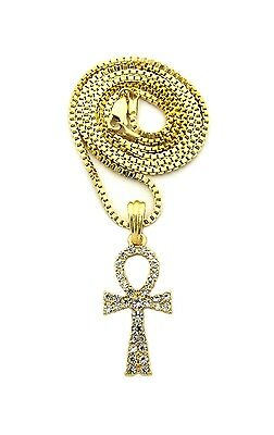 """NEW ICED OUT ANKH CROSS PENDANT /&2mm//24/"""" BOX CHAIN HIP HOP NECKLACE XGP3BX"""