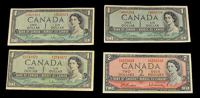 Lot of 4, 1954 Canadian $1 & $2 Notes. Bank of Canada. Circulated