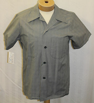 Mans Mens 1940/50s Grey Prince of Wale check short sleeve casual Shirt Lindy Hop