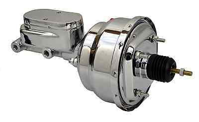 "8"" Street Rod Dual Power Brake Booster W/ Smooth Top Master Cylinder Chrome"