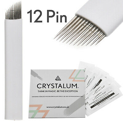 Microblading Blades Needles 12 Pin 50 or 100 Eyebrow Tattoo Tool By CRYSTALUM