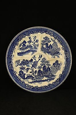 "Vintage Moriyama Pottery Blue Willow China Divided 11"" Dinner Plate Japan Made"
