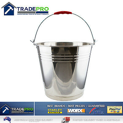 Stainless Steel Bucket with Handle 12Ltr Heavy Duty Quality 12L Marine Pail