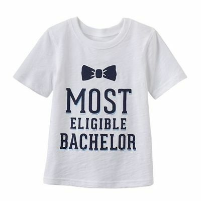 Most Eligible Bachelor White T Shirt Cotton Baby Everyday Toddler Boy 2T 3T