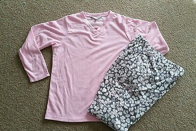 Soft Microfleece Pyjamas. Size L Or Xl. Pink Top With Floral Print Pants. New