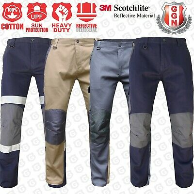 WORK CARGO PANTS TROUSERS,KNEE POCKETS,Cotton Drill,3M REFLECTIVE,TRADIE