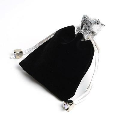 Black Velvet and Silver Drawstring Jewellery Pouch for Gift or Storage