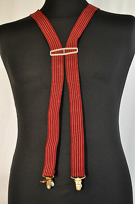"""Vintage Red 1"""" braces suspenders classic gold clip fastening skin 2 tone mod"""