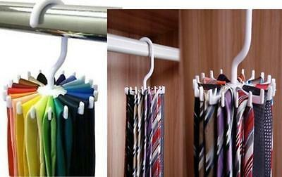 Adjustable Rotating 20 Hook Neck Ties Organizer Men Tie Rack Hanger Holder