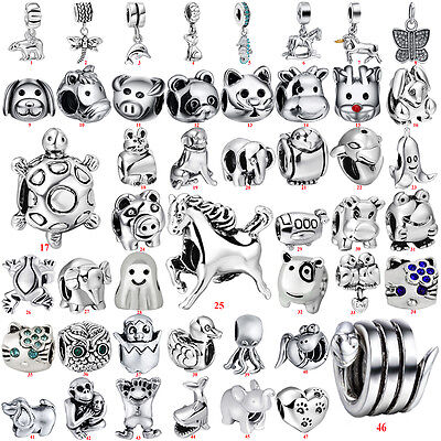 New Plated Sterling 925 Silver Animal Beads Charms For European Chain Bracelets
