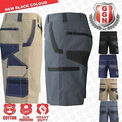Mens WORK CARGO SHORTS Cotton Drill MULTI POCKETS UPF 50+ TRADIE HEAVY DUTY