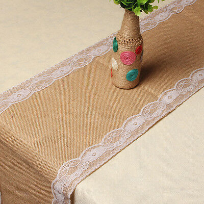 "108 x11"" Burlap Wedding Table Runner Natural Jute Rustic Lace Trimmed Decoration"