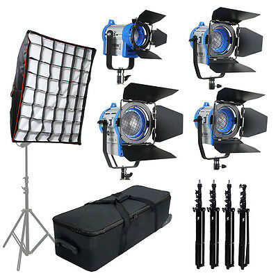 Pro Film 150W+300Wx2+650W Fresnel Tungsten Spot light + stands*3 + softbox +case