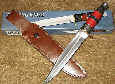 """13.5"""" Pakkawood Multi Color Fantasy Hunting Bowie Tactical Survival Knife Sheath"""