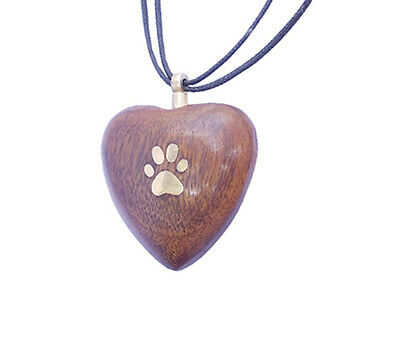 Solid Rosewood Hand Carved Heart with Paw Urn Pendant for Pet Cat Dog Ashes