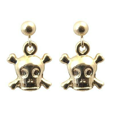 Skull & Crossbones Earrings Hand Sculpted in 9ct Gold