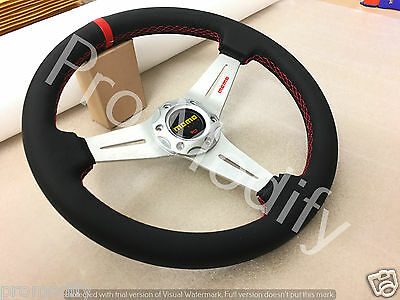 Universal 350mm Leather Low Dish Silver Spoke Steering Wheel OMP NARDI SPARCO