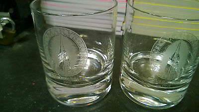 Freemason Masonic Pair Glass Tumblers Glasses Saint Mary's Lodge Logo