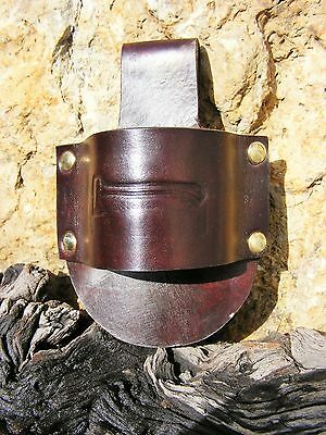 HAND-MADE EMBOSSED  LEATHER BUSHCRAFT AXE-HOLDER / BELT LOOP Brown