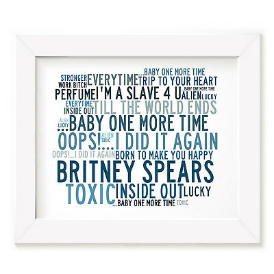 `Crystalline` BRITNEY SPEARS Art Print Typography Song Lyrics Signed Pop Poster