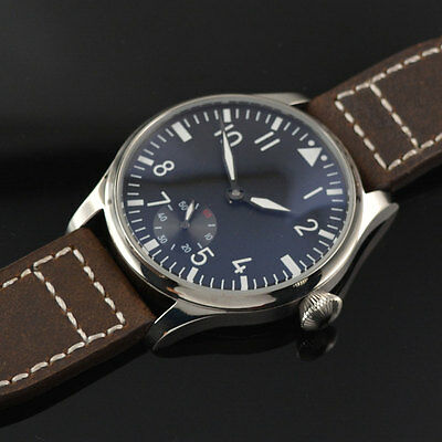 44mm Parnis black dial Luminous hands Asian hand winding 6498 Wrist Watch 154B
