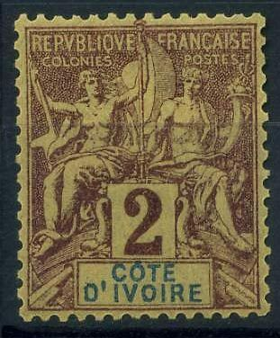 16-04-00006 - Ivory Coast 1892 Yv.  2 MH 100% Côte d´ivoire Navigation and Comme