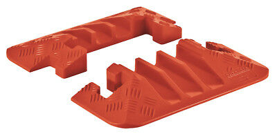Checkers Line Backer - 3 Channel Cable Protector Orange End Caps Pair