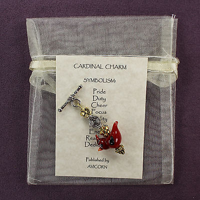 CRESTED RED CARDINAL CHARM Totem Symbol Amulet Talisman Attraction Bird Passion