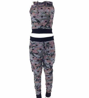 Girls Ladies Camouflage Star Trim Hooded Crop Top Lounge Suit Kids Tracksuit