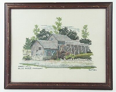 VINTAGE Framed & Completed Cross Stitch Needlepoint - Mabry Mill Blue Ridge Pkwy